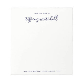 Simple and Elegant Navy and White | Typography Notepad