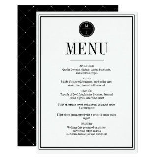 Simple and Elegant Wedding Menu Card