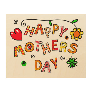 Simple and Fun Happy Mothers Day Wood Wall Art