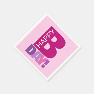 Simple and Fun Pink Happy Bday Paper Napkins
