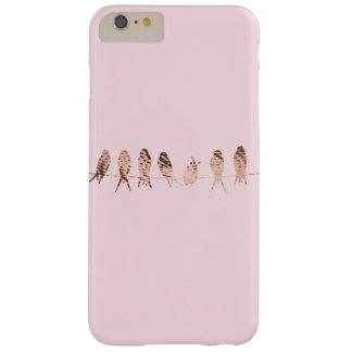 Simple and Modern Blush Pink with Copper Birds Barely There iPhone 6 Plus Case