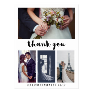Simple and Modern Wedding Thank You | 4 Photo Postcard
