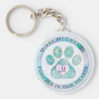 Simple and Sweet Pet Memorial Monogram Heart Paw Key Ring