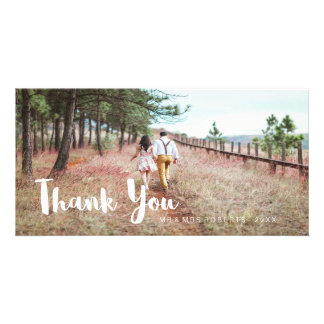 Simple and Whimsical Wedding Thank You Customized Photo Card