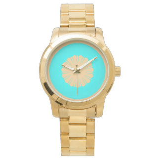 Simple Aqua Beige flower abstract Watch