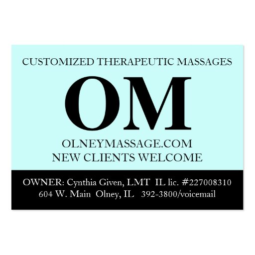 Simple Aqua, Black, and White Massage Therapy Card Business Card