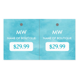 Simple Aqua Blue Chic Boutique Monogram Hang Tags Pack Of Standard Business Cards