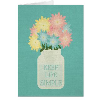 Simple Aqua Blue Glass Floral Mason Jar Relaxing Card