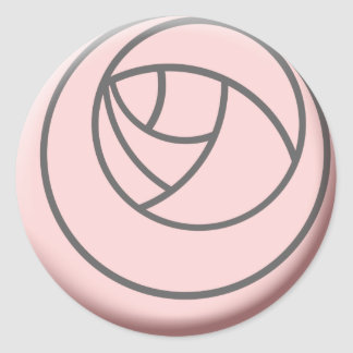 Simple Art Nouveau Rose Classic Round Sticker