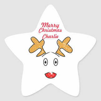 Simple artwork inspired Rudolph red nosed reindeer Star Sticker