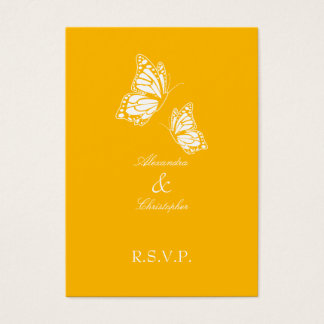Simple Aurora Yellow Butterfly RSVP Note Mini