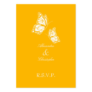 Simple Aurora Yellow Butterfly RSVP Note Mini Business Card