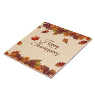 Simple Autumn Leaves Thanksgiving | Ceramic Tile