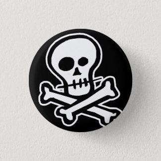Simple B&W Skull & Crossbones 3 Cm Round Badge