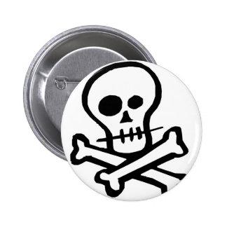 Simple B&W Skull & Crossbones 6 Cm Round Badge