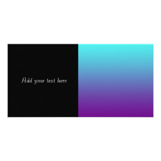 Simple Background Gradient Turquoise Blue Purple Personalised Photo Card