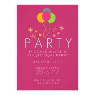 Simple Balloon Pink Girl's 7th Birthday Invite