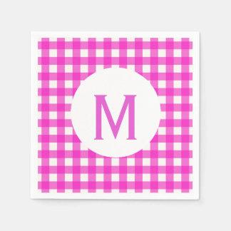 Simple Basic Hot Pink Gingham Monogram Paper Napkin