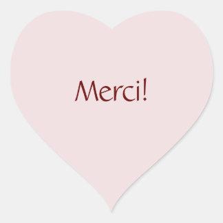 "Simple Basic ""Merci!"" Text Design Heart Sticker"