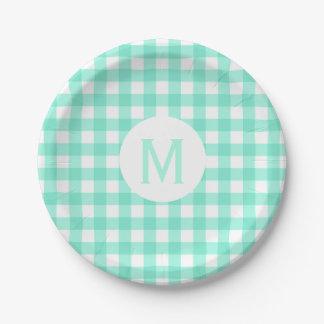 Simple Basic Mint Green Gingham Monogram Paper Plate