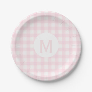 Simple Basic Pale Pink Gingham Monogram Paper Plate