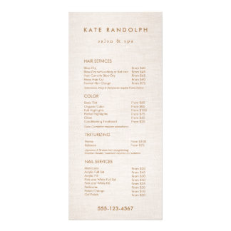 Simple Beige Salon Spa Price List Service Menu