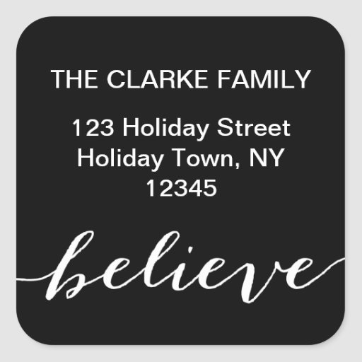 Simple Believe Holiday Address Label | Black White Sticker