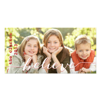 Simple Believe Holiday Photo Cards | Red White
