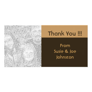 simple biege brown thank you photo greeting card
