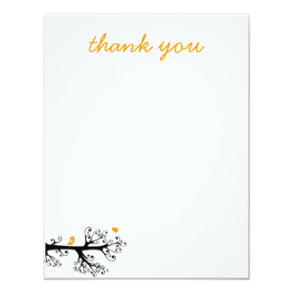 Simple Birds on Tree Branch thank you 11 Cm X 14 Cm Invitation Card