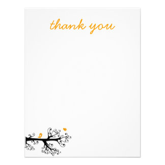 Simple Birds on Tree Branch thank you Custom Invite
