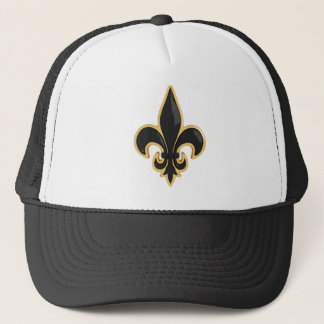 Simple Black and Gold Fleur de Lis Trucker Hat