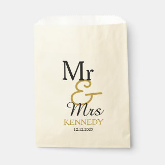Simple Black And Gold Mr And Mrs Wedding Favour Bag