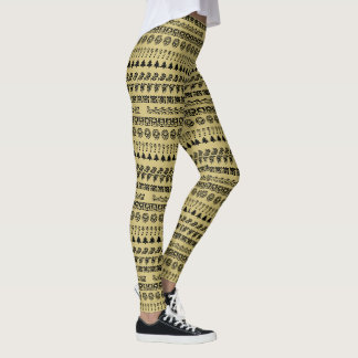 Simple Black and Gold Rows Christmas Font Pattern Leggings