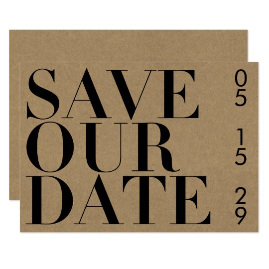 Simple Black and Kraft Typography Save the Date Card