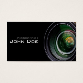 Simple Black and Lens Photographer Business Card