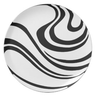 Simple Black and White Abstract Melamine Plate