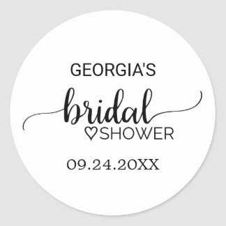 Simple Black and White Calligraphy Bridal Shower Round Sticker