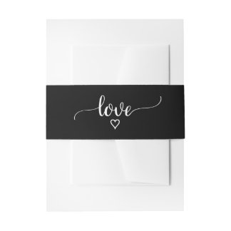 Simple Black and White Calligraphy Love Wedding Invitation Belly Band