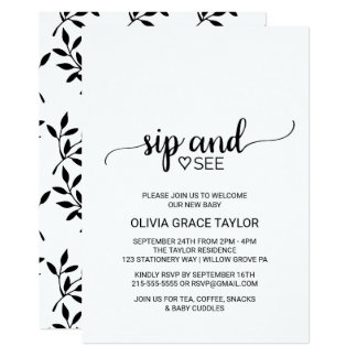 Simple Black and White Calligraphy Sip and See Card