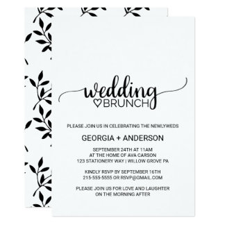 Simple Black and White Calligraphy Wedding Brunch Card