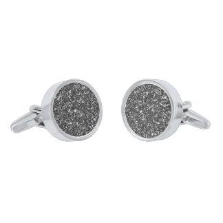 Simple Black And White Glitter Silver Finish Cufflinks