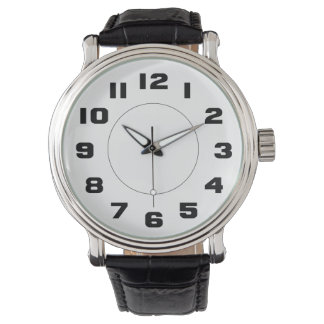 Simple Black and White Large Numbers Easy To Read Wristwatches