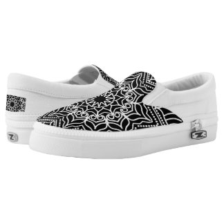 Simple black and white, mandala pattern Slip-On shoes