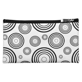 Simple Black and White Rings Cosmetic Bag