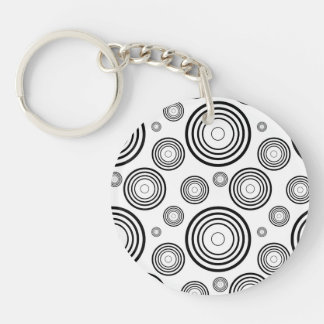 Simple Black and White Rings Single-Sided Round Acrylic Key Ring