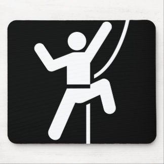 Simple Black and White Rock Climbing Icon Mouse Pad