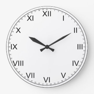 Simple Black and White-Roman Numerals Large Clock