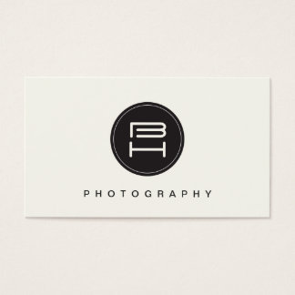 Simple Black and White Round Monogram Emblem Business Card