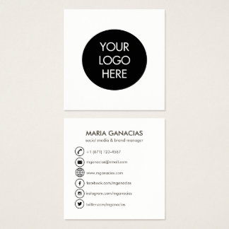 Simple Black and White Social Media Business Card